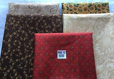 5 Yards Quilt Fabric Kit Moda 1 Yard Of Each Coordinating Fabric Sunflowers