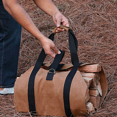 Canvas Log Carrier Basket Firewood Collector Wood Water Resistant Heavy Duty