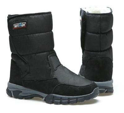 Men's Black Plus Size Winter Fleece Lined Ankle Boots Ski Snow Shoes Warm Hot