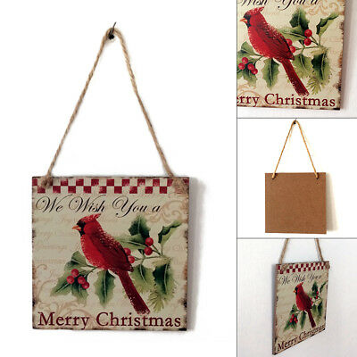 Christmas Wooden Door Wall Xmas Red Bird Plaque Hanging Decoration Sign Gifts