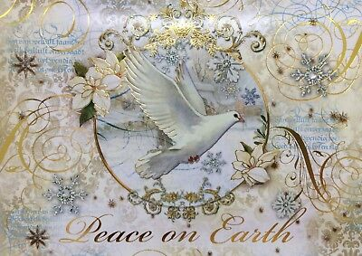 Punch Studio* Christmas 4 Embellished Cards ~ PEACE ON EARTH Golden Dove 19401