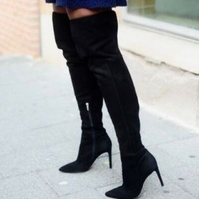 01ffe8513832 Sam Edelman Suede Black Leather Over Knee High Pointed Zip Heel Boots 3 36  £350