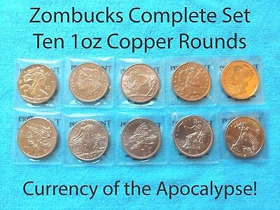 Zombucks Copper Set 10 1oz Bullion Round Walker Saint Walking Dead Zombie Dollar