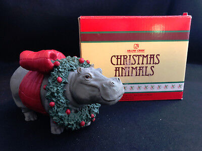 MIB 1991 SILVER DEER CHRISTMAS ANIMALS COLLECTION HIPPO FIGURINE TOM RUBEL - Qty