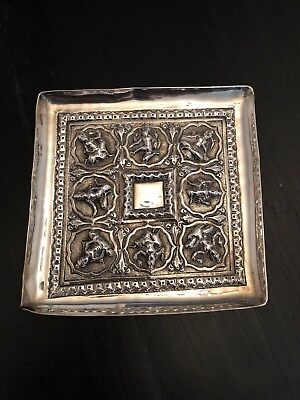 Antique Persian/ Indian solid silver pin dish