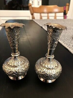Small Pair Of Solid Silver Indian Vases