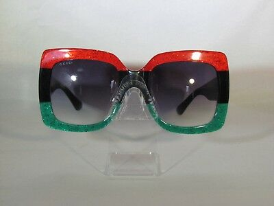 7391c9a8336 Gucci GG0083s 001 Red-Black With Grey Gradient Lenses Sunglasses Large  Square