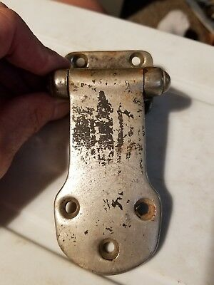 Vintage Nickel Iron Door Hinge Hardware Antique Ice Box Refrigerator Cooler Door