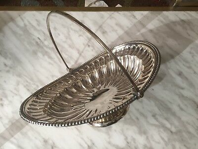 Vintage Silver Plated Centrepiece Fruit Bowl Basket With Swing Handle Footed