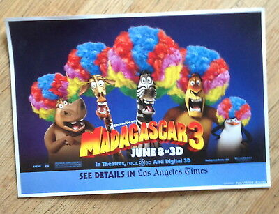 "Promo Poster from Dreamworks/ L.A. Times for ""Madagascar 3"" 2012   20"" x 14"""