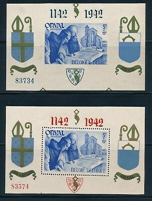 "Belgium ""Orval Abbey""  (2) S/S Mlh (1941-42) **Both With Overprints**"