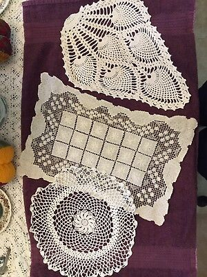 Vintage Lot of 6 Crocheted Doilies White Ecru Dill Dress All Various sizes EUC