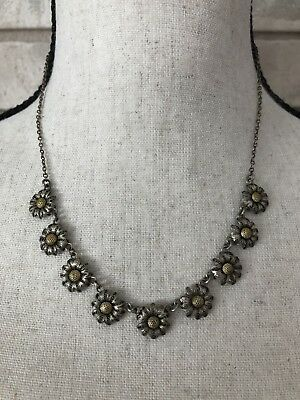 Vintage Necklace FILIGREE Small Flower Daisy Pendant Silver Tone ITALY