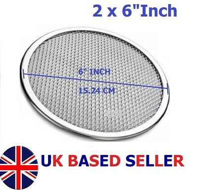 "2 QTY  6"" inch Aluminium Mash Pizza Baking Tray Flat Wire Food Crisper Bakeware"