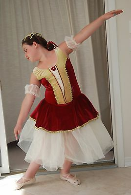 Wine and Cream Ballet Costume sz Adult Medium -Incl hair ornament and sleevelets