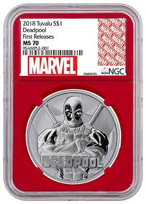 2018 Tuvalu Silver $1 - Marvel Characters - Deadpool - MS70 FR - NGC Coin - RARE