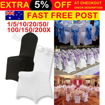 1- 200 White Chair Covers Full Seat Cover Spandex Lycra Stretch Banquet Wedding