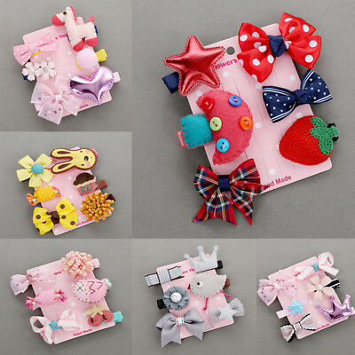 6Pcs/lot Baby Girls Hair Clip Kids Bow Flower Princess Hairpin Hair Accessories