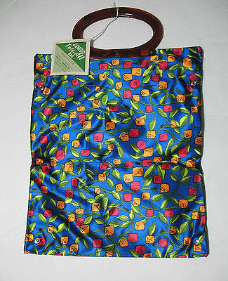 Lady's Pride Vintage Jumbo Tote All Bag NOS Blue Floral NEW NWT
