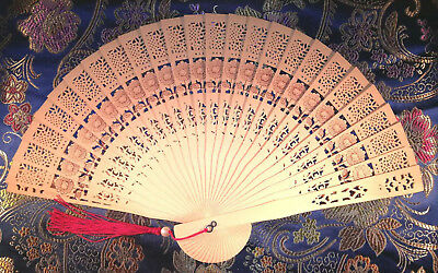 Chinese Flower Folding Fan Bamboo and Cedar-wood Hand. U.S. Seller