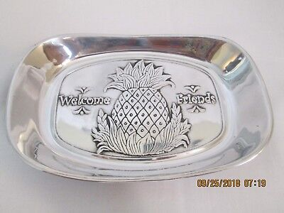 Wilton Armetale Welcome Friends Pineapple Bread Tray. Signed!