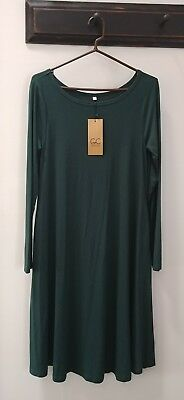 NEW! GRECERELLE Womens Long Sleeve Casual Loose Swing Maternity Dress Size L