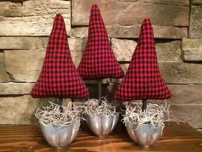 3 Primitive Farmhouse Red Buffalo Check Plaid Trees Xmas Make Do Vtg Jello Tins