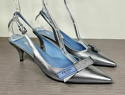 00bd34404be PRADA LIGHT BLUE high heel shoes with top stitches and bow -  265.50 ...