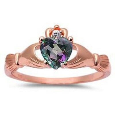 Rose Gold IP Rainboz & Cubic Zirconia Claddagh Solid .925 Sterling Silver