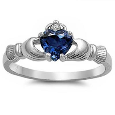 Blue Sapphire Claddagh Ring .925 Sterling Silver Sizes 5-10