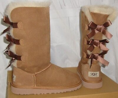 af62c025bcd UGG BAILEY BOW Triplet Sheepskin Boots, Youth 5, Fits Womens Us 7 ...