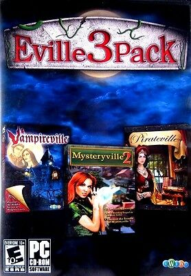 Eville 3 Pack Vampireville  Mysteryville2  Pirateville New PC Hidden Object Game
