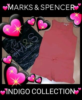 ❤M&s Indigo Collection Girl's 100% Cotton Shortie Coral Jumpsuit❤Age 10Yrs❤Fab!❤
