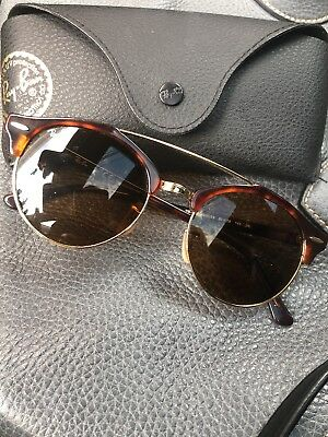 Ray Ban RB4346 990 33 51 Clubround Double Bridge Clubmaster Tortoise  Sunglasses a300ca64503