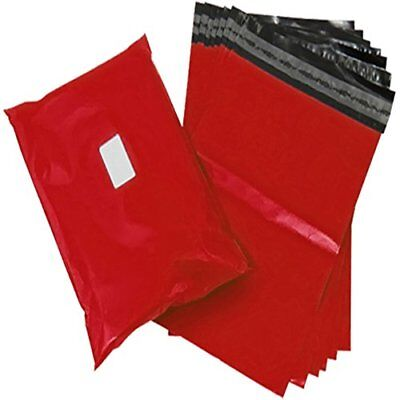 100 Strong Red Coloured Plastic Self Seal Packaging Mailing Bags - Small Size 6