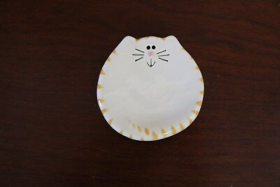 CAT Tea Bag Rest Ceramic Jewelry Rings Dish Spoon Holder Tabby August Ceramics