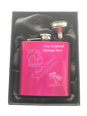 """Personalised """"I Survived Benidorm"""" Hen Night Pink 6oz Stainless Steel Hip Flask"""