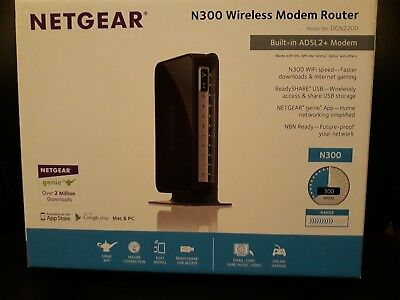 Netgear DGN2200 Wireless N300 ADSL2/2+ Modem Router Wifi Optus WLAN WPS USB DSL