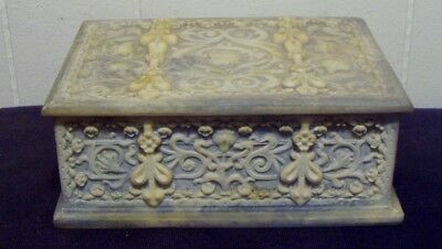 """Vintage """"genuine Incolay Stone """" Hinged Lid Box - Handcrafted U.s.a."""