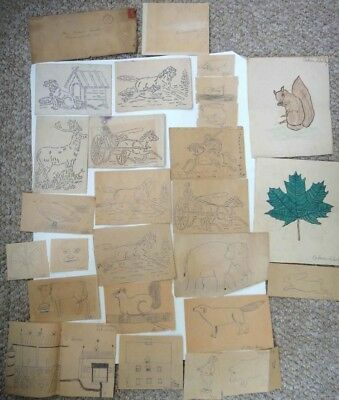 LOT 1916 antique 20pc CALVIN SHOLLEY DRAWINGS art prints #2 wernersville pa