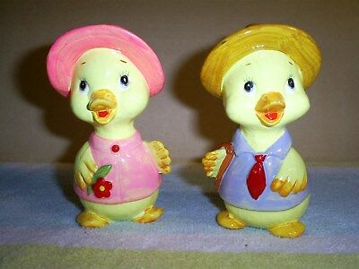 """Vintage Mid Century """"MY"""" Set Of 2 Duck Family Hand Made In Japan 4"""" Ducks"""
