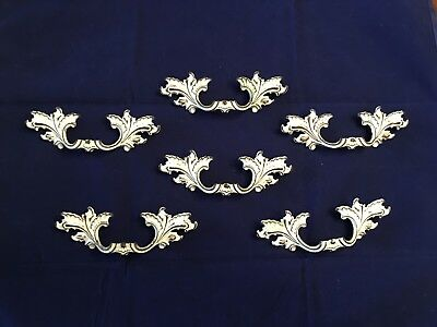 """6 Vintage Ornate French Provincial Solid Brass Drawer Pulls 3"""" Center NLCO #3515"""
