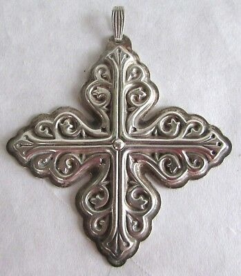 Vintage Reed & Barton Christmas Cross Ornament - 1978 - Sterling Silver