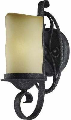 Wall Sconce 1-Light Antique Iron Brown Tan Shade Color Sandstone Glass Soft Glow