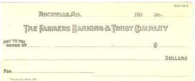 1910's ROCKVILLE MARYLAND CHECK FARMERS BANKING & TRUST
