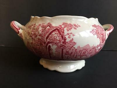 Antique TAYLOR, SMITH & TAYLOR English Abbey Open Sugar Bowl Red