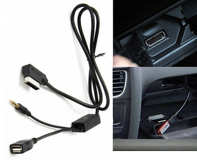 STEREO MUSIC PLAY USB INTERFACE AUX ADAPTER CABLE AMI MMI MDI FOR iPHONE VW