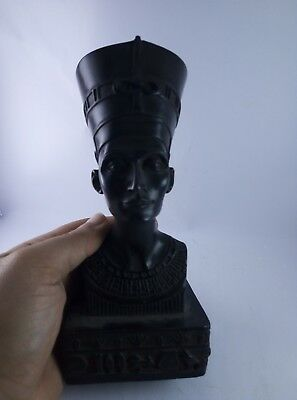 ANCIENT EGYPTIAN QUEEN Goddess NEFERTITI Black Head Bust Busts Crown Statue Bc