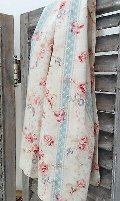 Antique French floral printed cotton fabric faded 19th c. curtain block print
