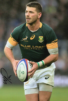 Willie le Roux, Wasps & South Africa rugby union, signed 12x8 inch photo. COA.